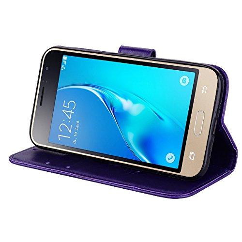 Coque Samsung J1 (2016) Anfire Fleur Motif Peint Mode Coque PU Cuir pour Galaxy J1 (2016) J120 Etui Case Protection Portefeuille Rabat Étui Coque Housse pour Samsung Galaxy J1 (2016) SM-J120FN (4.5 po Pourpre