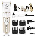 Cortapelos para Perros/Mascotas eléctrico bajo Ruido y vibración - Kit de cortapelos Profesional/Buen Regalo para Perros y Gatos con 4 peines(3/6 /9/12 cm) Ajustable para distinto Pelo