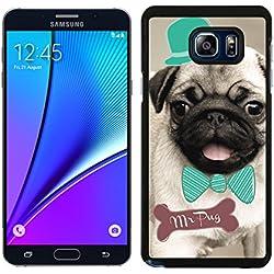 Funda carcasa para Samsung Galaxy Note 5 diseño pug carlino con pajarita y sombrero
