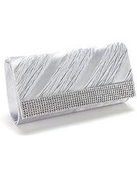 Anladia - Bolso de Mujer Fiesta Boda con Diamantes Cadenas Larga 120cm Color Plateado