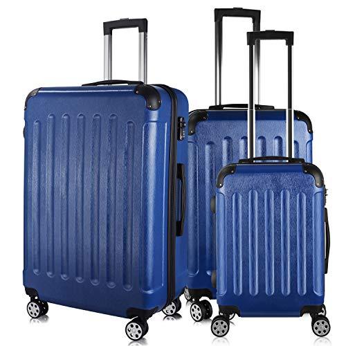 PRASACCO Reisekoffer Handgepäck Set 3 TLG.Für Flug Hartschalen Koffer Trolley TSA Ultraleicht ABS Anti-Kratzer Erweiterbar 4 Rollen (Blau)