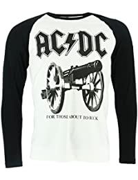 AC/DC For Those About To Rock Long Sleeve Baseball Shirt Official Licensed Music