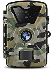 AKASO Trail Camera with Infrared Night Vision 1080P HD 12MP Surveillance Cam Waterproof Wildlife Hunting Scouting Camera