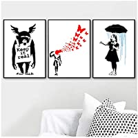 Canvas Wall Art Canvas Printing Wall Graffiti Abstract Umbrella Girl Orangutan Satire Wall Art Canvas Painting Nordic Poster and Print Wall Picture Home Decor 40 * 60Cm