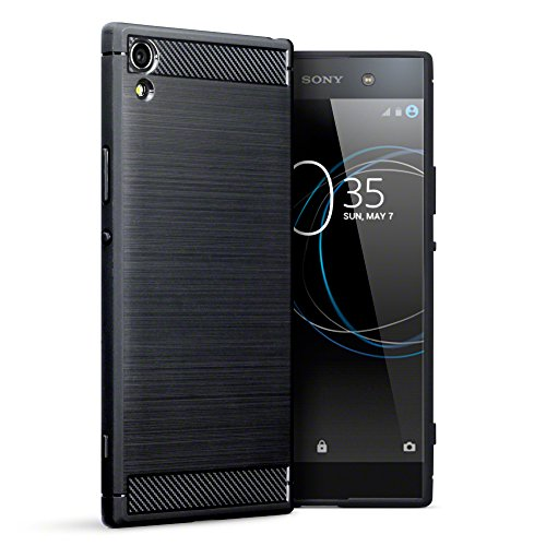 TERRAPIN, Compatible with Sony Xperia XA1 Ultra Case, Carbon Fibre Design Brushed Effect TPU Gel Cover - Black