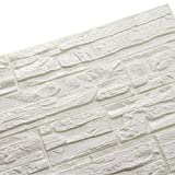 LEISU 3D Carta da Parati Mattoni Bianco DIY Adesivi muro di mattoni imitazione PE Schiuma Impermeabile Brick Wallpaper Stickers per Cucina Bagno Soggiorno Salone da letto 60x60cm(12pcs,bianca)