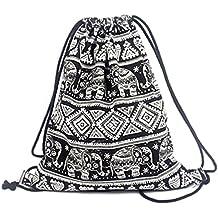 erinfam Cordón Back Saco Gym Bag Elephant Black Mochila de lona Geometric Pattern Impreso Retro Tiempo Libre Bolsa de deporte bolsa viaje móviles bolsa de playa, diseño 1
