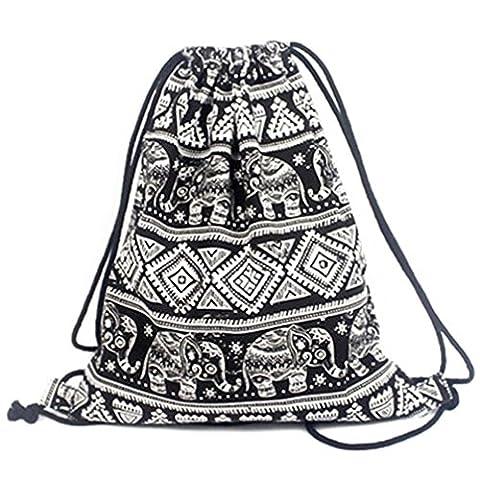 Erinfam Drawstring Back Sack Gym Bag Elephant Black Canvas Rucksack Geometric Pattern Bedruckt Retro Freizeit Sport Tasche Tasche Reise Bewegliche