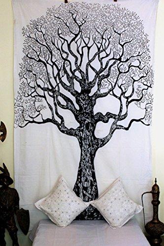 Blanco y Negro Mandala tapiz único algodón impreso colgante de pared Throw Decoración