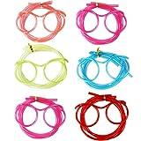 COM-FOUR® 6X Occhiali Cannuccia in Vari Colori Brillanti, Cannuccia in Design occhiale (Occhiali Colorati + Trasparenti - 10 Pezzi)