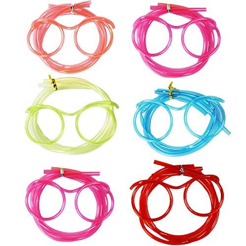 com-four® 6X Brillen Trinkhalm in verschiedenen bunten Farben, Strohhalm im Brillen-Design (Brille bunt 06 Stück)