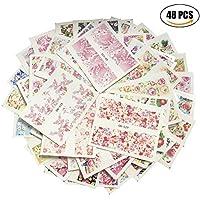AIUIN 48 Piezas Pegatina de Uñas Francesas Guías de Clavar Tip Pegatinas Conjunto con Diferentes Formas para Uñas de Manicura,49,5 * 64MM