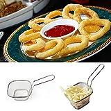 KOBWA Fry Braten, Edelstahl Pommes Frites Körbchen Werkzeug Set Mini Fry Braten Korb Fritteuse Körbe Sieb, die Speisen Servieren Präsentation Küche Werkzeug