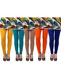 Anekaant Pack Of 5 Cotton Lycra Free Size Women's Legging -Gold, Light Green, Brown, Orange, Blue