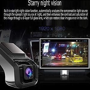 Dkings USB Auto DVR, Driving Recorder Kamera HD 1080P Matte Night Version 170 Weitwinkel, ADAS Fahrassistenz, Elektronischer Hund,Auto DVR Recorder Kamera HD 1080P