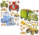 Unbekannt 30 tlg. Set: Wandtattoo / Sticker - Baustelle - Baustellen Fahrzeug - Bagger K..