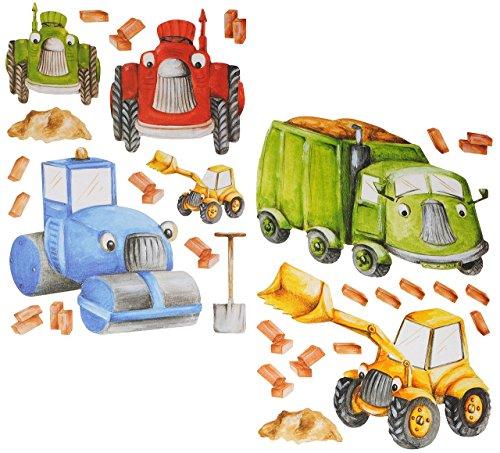 Unbekannt 30 TLG. Set: Wandtattoo / Sticker - Baustelle - Baustellen Fahrzeug - Bagger Kipper Walze - auch als Fensterbild / Fenstersticker - selbstklebend wiederverwen.. -