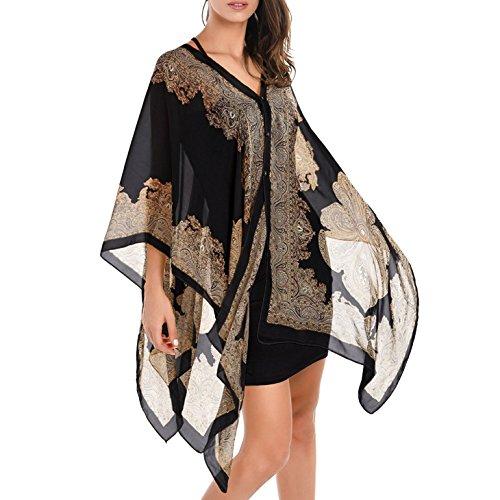Chiffon Poncho (Anshili Damen Strandtunika Poncho Bikini Kleid Chiffon Sommerkleid Beachwear Blumen Druck Cover-Up One-Size (B))