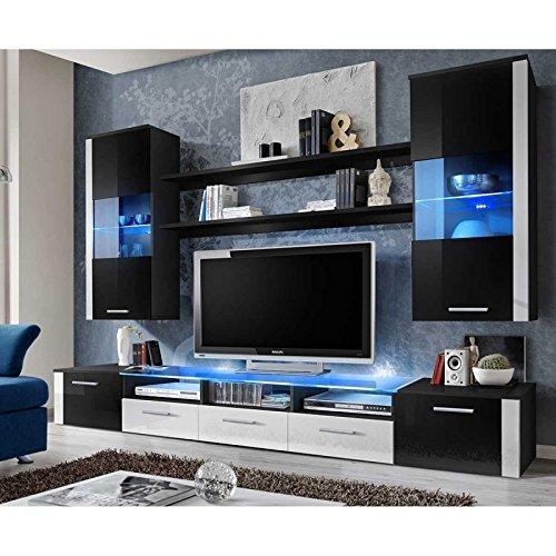 AC-Déco Ensemble Mural - Fresh - 1 Meuble TV - 2 vitrines Verticales - 2 étagères - Noir et Blanc - LED