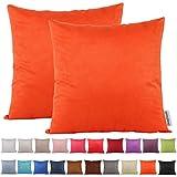 Dongguandong Comoco® 2Pcs Solid Color leichte Faux Suede Series Kissenbezug Home Decor Sofa Dekokissen Covers in 21 Farben und 7 Größen (45x45cm, Orange)