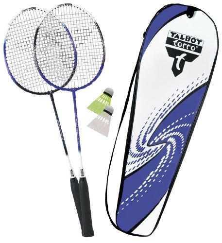 Talbot-Torro Premium Badminton-Set 2-Fighter, 2 Alu-Schläger leicht und handlich, 2 Federbälle, in wertiger Tasche, Federballset, 449512 -