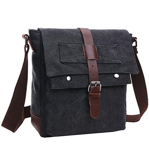 Super moderno vintage messenger bag borsa di tela militare Leisure borsa a tracolla viaggio borsa a tracolla Black