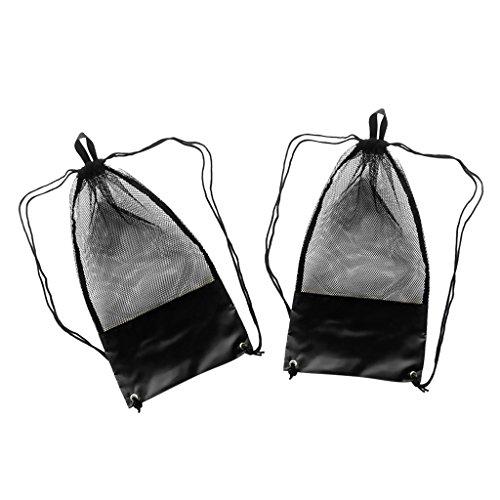 Sharplace Netzbeutel Kordelzug (2 Stück Packung) Mesh Bag / Tauchtasche / Schnorcheltasche / Flossentasche / Sport Netztasche