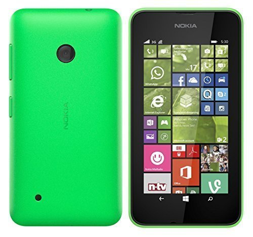 Nokia Lumia 530 Smartphone (10,2 cm (4 Zoll), 1,2GHz Snapdragon Quad-Core Prozessor, 512MB RAM, 5 Megapixel Kamera, Bluetooth, USB 2.0, Win 8) Grün