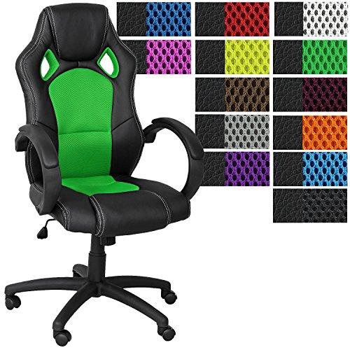 Miganeo Racing Bürostuhl Drehstuhl Chefsessel in 13 Farbvarianten, gepolsterte Armlehnen, Wippmechanik, Gasift (grün)