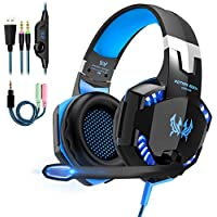 Micro Casque Gaming PS4,Casque Gamer Xbox One avec Micro Anti Bruit LED Lampe Audio Stéréo Basse avec Micro 3.5mm Jack pour PS4/ Xbox One/PC/Mac/Nintendo Switch/Ordinateur/Tablette/Smartephone