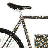 MOOXI-Bike Fahrrad-Folie Bonnie & Buttermilk (Bini Blau) - Dein Rad mit Retro-Blumenmuster (ausreichend für Teilbereiche)