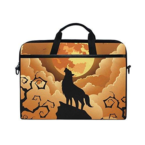Ahomy 38,1-15,4 Zoll Laptop Tasche Halloween Wolf Mond Canvas Stoff Laptop Tasche Bussiness Handtasche mit Schultergurt für Damen und Herren