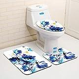 WWDDVH Stuoie Stampate Floreali 3Pcs per Il Bagno E La Toletta Lavabile della Toilette Tappetino da Bagno Coperchio del WC Coperte da Bagno Cuscino del Sedile del Water Set del Cuscino