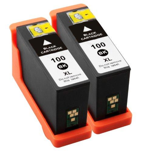 Preisvergleich Produktbild Premium 2er Pack - Tintenpatronen Kompatibel zu Lexmark 100XL 100 XL für OEM ID:14N1068E, (Schwarz)