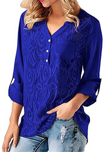 YOGLY Chemise Femme Col V Chic Dentelle T-Shirt Moussline Manche 3/4 Casual Tops Blouse Hauts Fluide Top Bleu