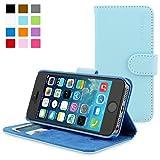 Snugg Schutzhülle für iPhone 5/5S Leder, hochwertig, Klappetui, Handytasche mit Kreditkartenfächer/Geldtäschchen für Apple iPhone 5/5S, babyblau