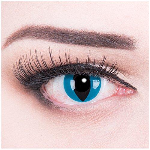 Halloween Kontaktlinsen Naruto (Meralens blaue Kontaktlinsen, Mystic Cat mit Pflegemittel ohne Stärke, 1er Pack (1 x 2 Stück))