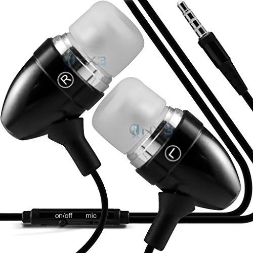 ONX3 (Schwarz) BLU Studio Max Qualitäts-Aluminium In-Ohrhörer / Kopfhörer 3,5 mm Klinke mit Mikrofon und Ein / Aus-Taste