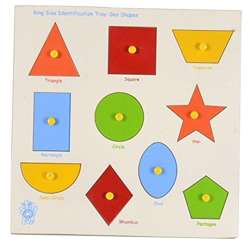 Skillofun Wooden Large \'Shapes\' Shape Tray - Triangle, Multi Color