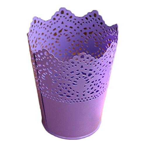 LAAT Blumentopf Container Eisen Blumenvase Metall Zinn Eimer Schreibtisch Ablagekorb Stifthalter Make-Up Pinsel Organizer Anlage Vase Dekoration (Lila)