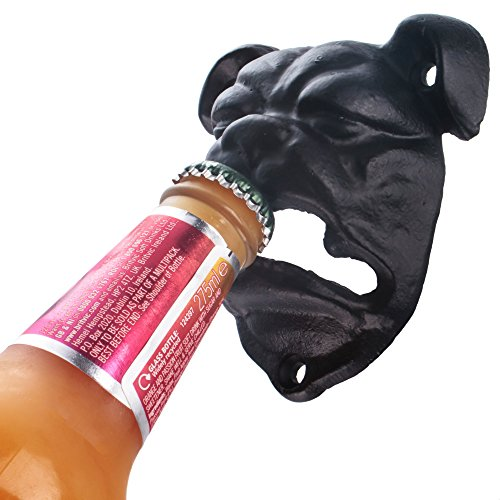 CKB Ltd® Bulldog Bulldogge Hund Wall Mounted Bottle Opener FLASCHENÖFFNER GUSSEISEN Wand befestigter Hand-Painted Finish -Geschenkkarton -