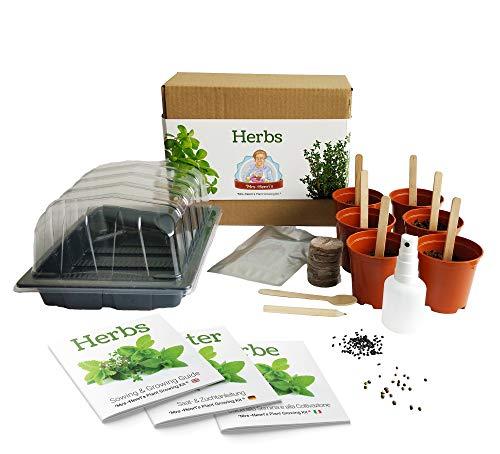 Kräuter Mrs Henri's Plant Growing Kit. Züchten Sie 6 aromatische Kräuter aus Samen. Das ideale Geschenk für alle Hobby-Köche. Das Premium-Kit enthält alles, was Sie für den Einstieg benötigen.