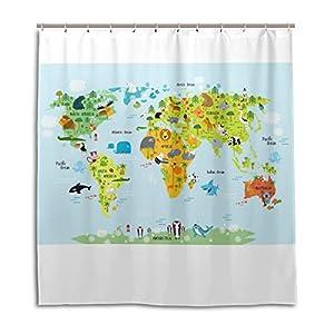 jstel Decor cortina de ducha mapa del mundo con animales patrón impresión 100% poliéster 66x 72pulgadas para hogar baño decorativo ducha baño cortinas con ganchos de plástico