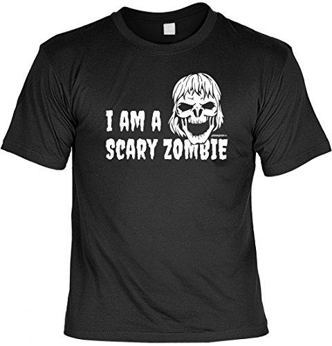 Halloween T-Shirt als Ersatz für Kostüm und Verkleidung - I am a Scary Zombie - Motivshirt als lustige Geschenk Idee, Größe:M