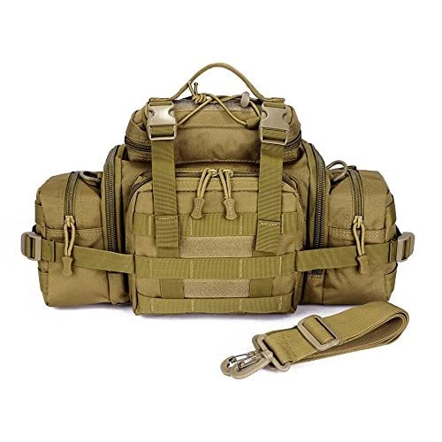 51F7i2VGSiL. SS500  - Huntvp Large Tactical Waist Bag Molle Fanny Pack Bumbag Assault EDC Bag Carry-on Bag Handbag for Working Camping Hiking Outdoors Activities