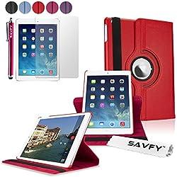 SAVFY Housse Compatible avec iPad Air 2 Housse de Protection en PU Cuir avec Rabat/Stand de Positionnement Support et la Fonction Sommeil/Réveil Automatique - Rouge