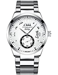 ANTHONY JAMES CLEARANCE Men's Designer Business Casual Dress Wrist Watch For Men With White And Silver Dial, White Calendar And Stainless Steel Links Strap Clearance Sale, 90 Day Returns
