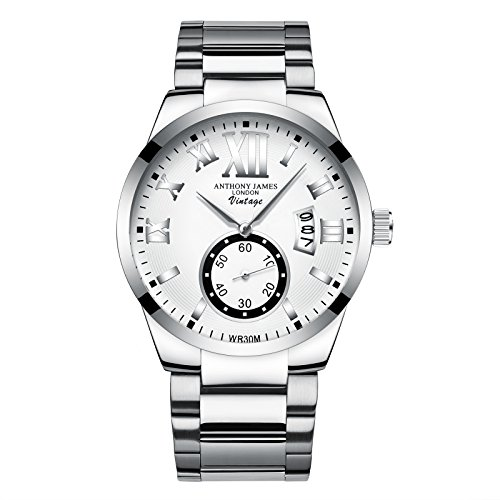 Anthony James Vintage White Herren Kleid Uhr - Smart, Durable Design für den modernen Mann mit Silber Metall Fall, Metall Handgelenk Band und Lifetime Hersteller -