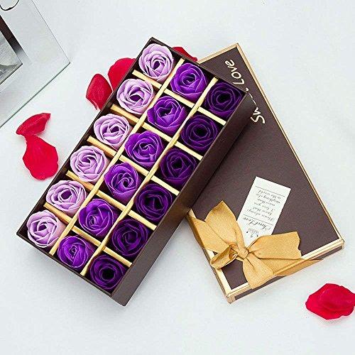 Funrun 18 pezzi profumato per il bagno petali rosa, creativo regalo fiore del sapone artificiali rose fiori di sapone per la festa di compleanno san valentino(porpora)