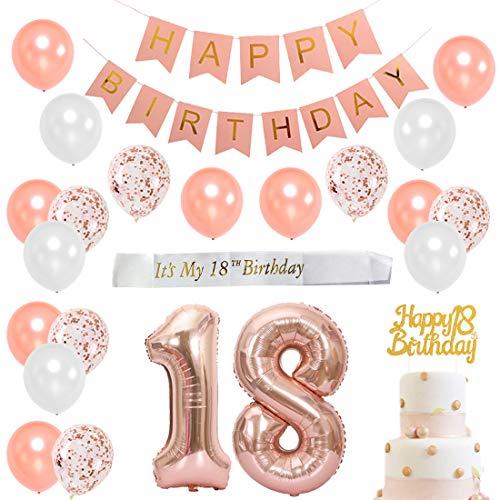 JOYMEMO 18. Geburtstag Dekorationen Rose Gold für Mädchen - Birthday Party Supplies mit weißer Satin-Schärpe, Cake Topper, Nummer 18 Folienballons, Konfetti-Ballons, Pink Happy Birthday Banner